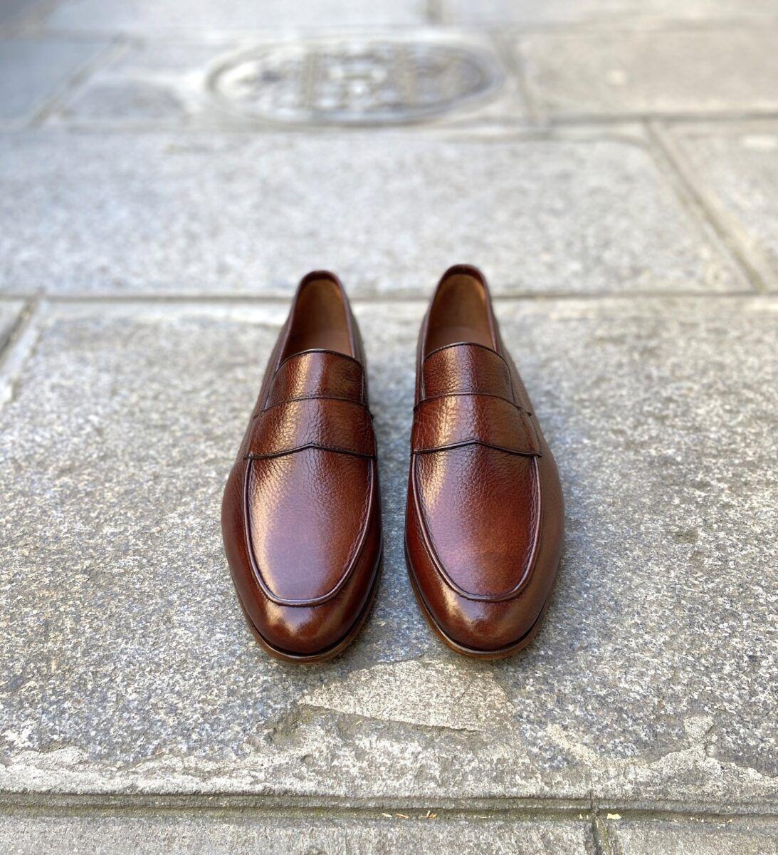 Mocassin pour hommes en cuir grainé de couleur cognac - Caulaincourt Paris